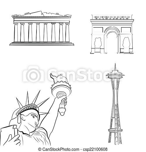 A Set Of Sketches Famous Places Vector Clipart