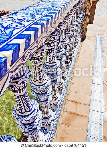 Famous Plaza de Espana ceramics, Sevilla, Spain. Old landmark.  - csp9784451