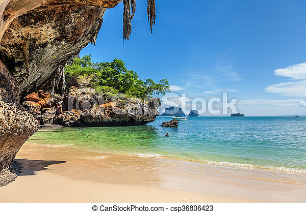 Famous Railay beach in the Thai province of Krabi. - csp36806423