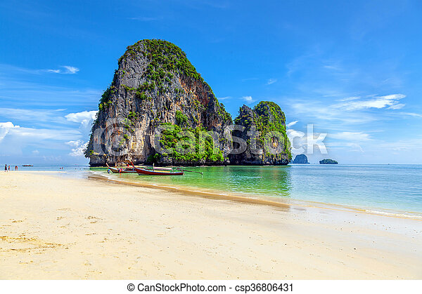 Famous Railay beach in the Thai province of Krabi. - csp36806431