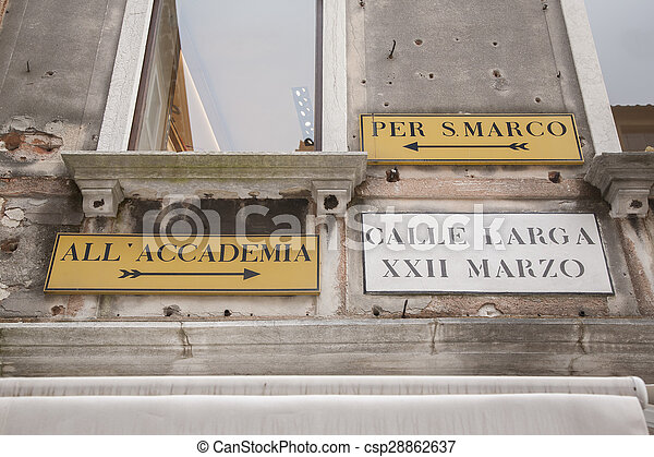 Famous Street Signs in Venice - csp28862637