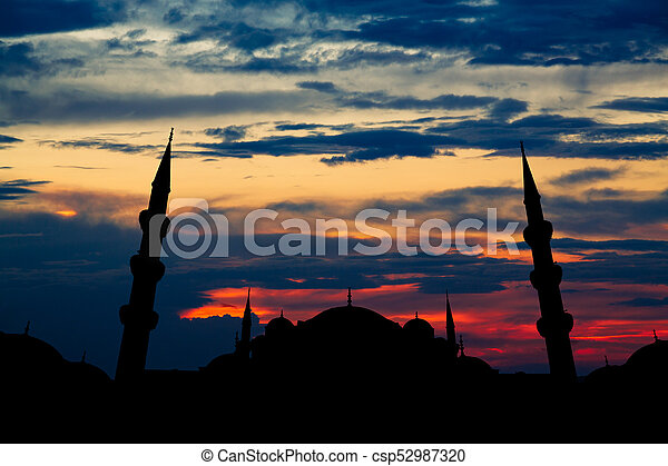 Famous Sultanahmet or Blue Mosque in Istanbul city at sunset - csp52987320