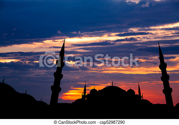 Famous Sultanahmet or Blue Mosque in Istanbul city at sunset - csp52987290