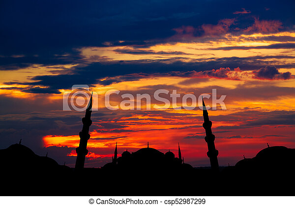 Famous Sultanahmet or Blue Mosque in Istanbul city at sunset - csp52987299