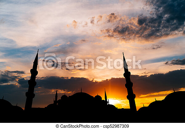 Famous Sultanahmet or Blue Mosque in Istanbul city at sunset - csp52987309