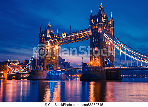 Famous Tower Bridge in the evening - csp86389715