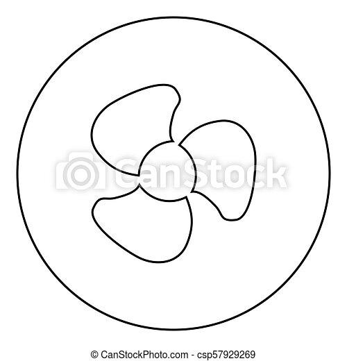 Fan blades icon black color in circle - csp57929269
