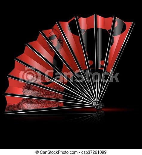 fan flamenco dance - csp37261099