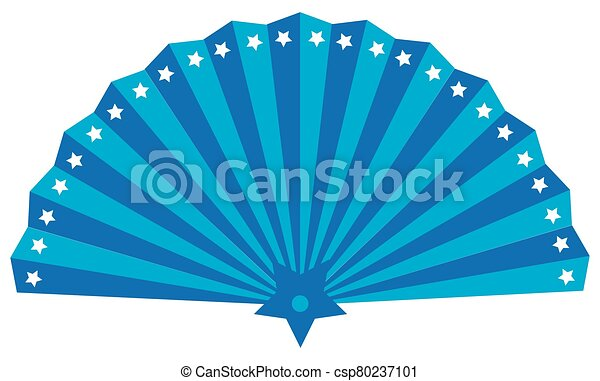 Fan, isolated illustration of utensil for giving air with star draft - csp80237101