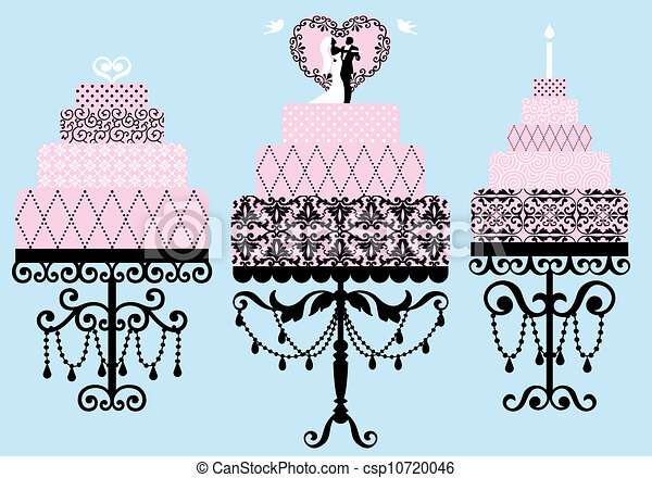 Remarkable Fancy Cakes Vector Set Set Of Patterned Wedding And Birthday Funny Birthday Cards Online Alyptdamsfinfo