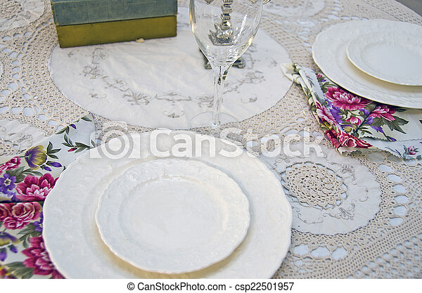 fancy dinner table setting - csp22501957  sc 1 st  Can Stock Photo & Fancy dinner table setting. Elegant table setting on... stock ...