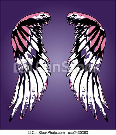 fancy eagle wing portrait illustration - csp2430363
