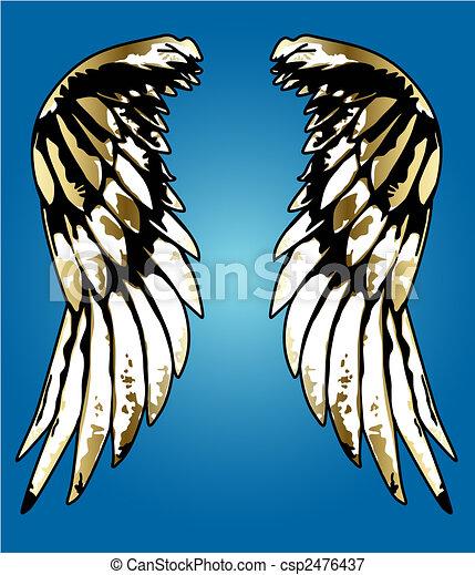fancy eagle wing portrait illustration - csp2476437