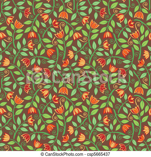 Fancy Flower Pattern Brown - csp5665437