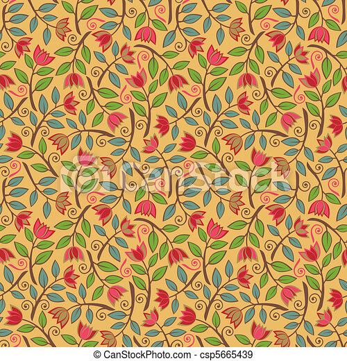Fancy Flower Pattern Yellow - csp5665439