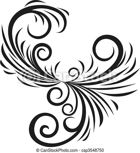 fancy scroll ornament - csp3548750