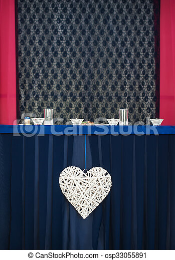 Fancy table set for a wedding dinner - csp33055891