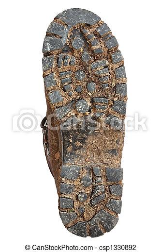 Suela de botas de montaña lodosa - csp1330892