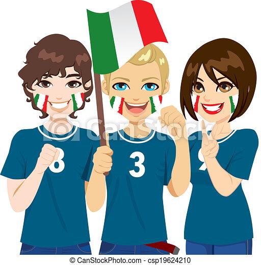 Italienische Fussballfans Junge Italienische Fussballfans