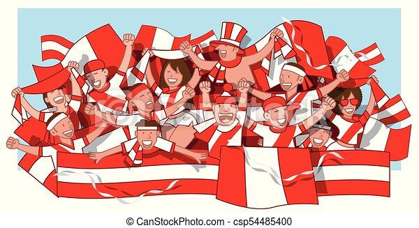 Fans Fussball Peru Winkende Hurrarufen Fans Flaggen