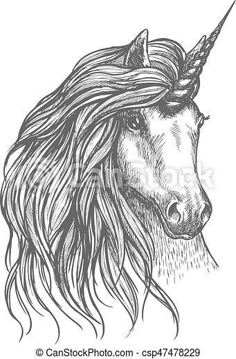 Unicornio fantástico sketch de caballos para el diseño de tatuajes - csp47478229