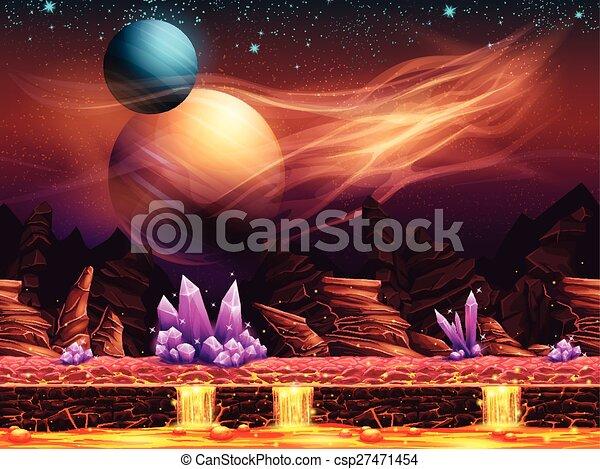 La ilustración de un paisaje fantástico, el planeta rojo - csp27471454
