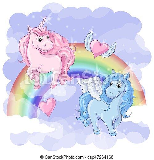 Una postal fantástica con Pegaso y unicornio - csp47264168