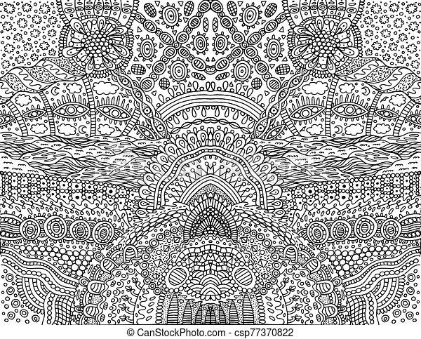 fantástico, vector, fondo., simétrico, colorido, garabato, caricatura, adults., página, ornament., ilustración, contorno, psicodélico, tribal - csp77370822