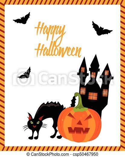 Fantôme Chat Halloween Maison Chauves Souris Carte Citrouille
