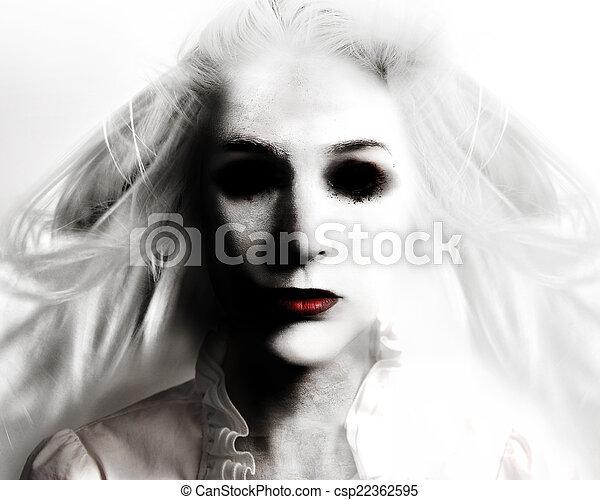 fantôme, effrayant, blanc, femme, mal - csp22362595