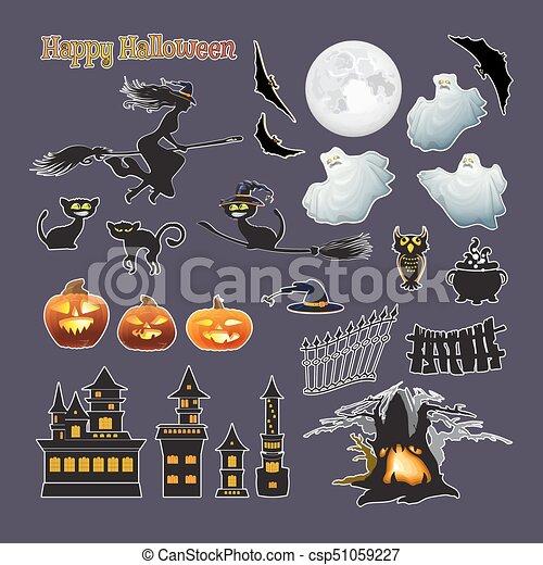 Fantôme Lune Halloween Set Citrouille Vecteur Sorcière Stickers Chat