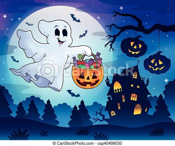 fantôme, maison, 3, hanté, halloween - csp40499030