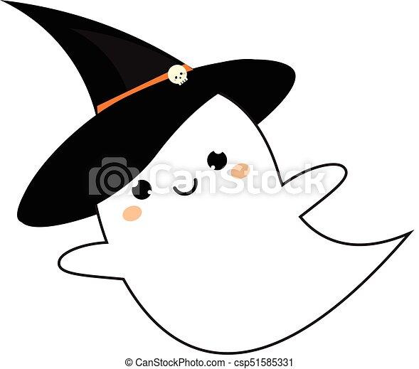 Fantôme Mignon Style Halloween Kawaii Vecteur Hat Icône