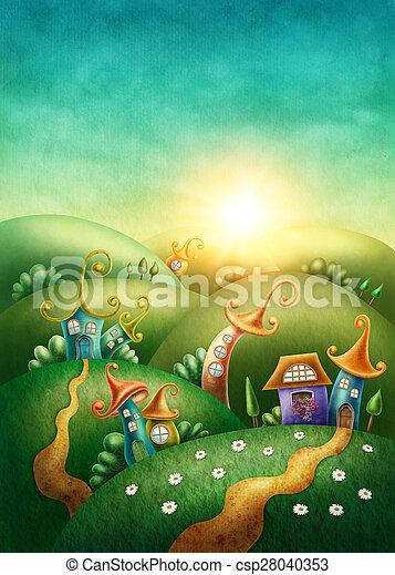 fantasía, aldea - csp28040353