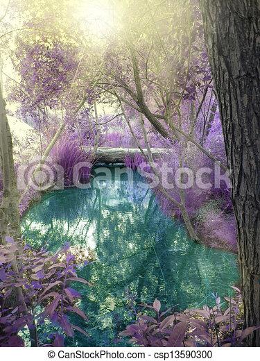 fantasía, bosque - csp13590300