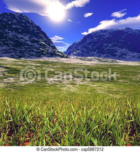 Un paisaje de fantasía colorido - csp5887212