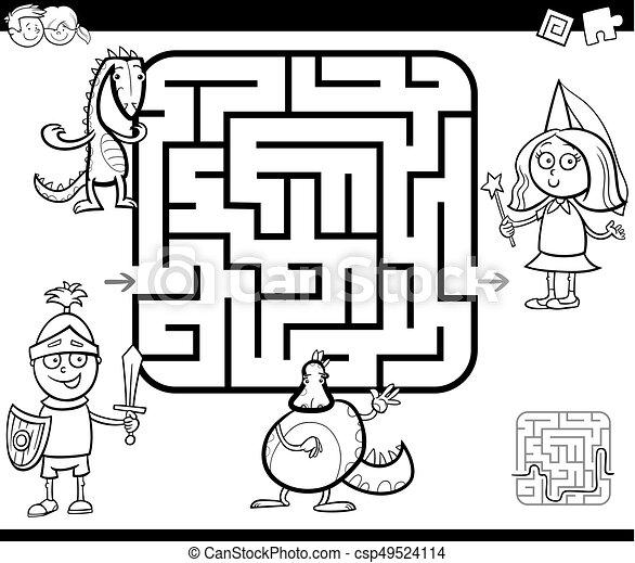 Un juego de actividad de laberintos con personajes de fantasía - csp49524114