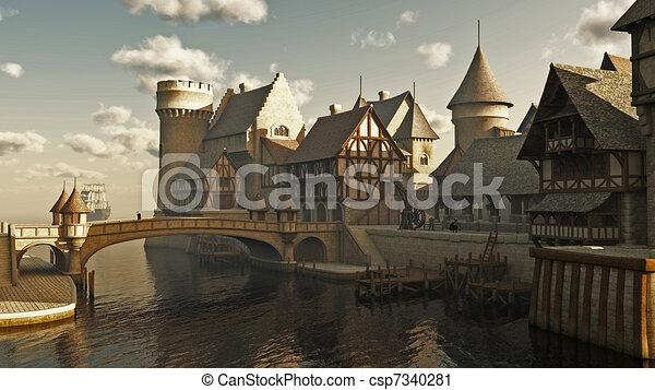 fantasía, o, medieval, diques - csp7340281
