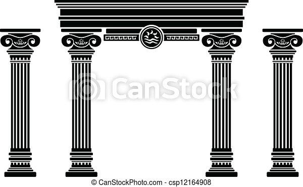 Arco de fantasía y columnas. Stencil - csp12164908