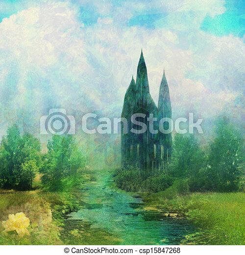 fantasia, fairytale, prato, torre - csp15847268