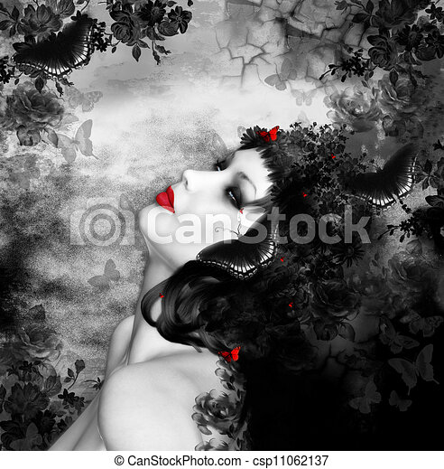 fantasia, farfalle, donna - csp11062137
