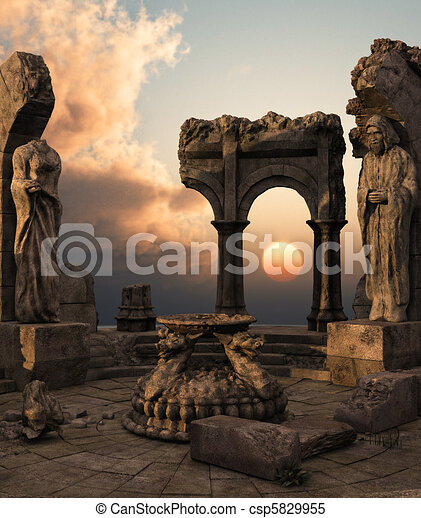 fantasia, ruínas, templo - csp5829955