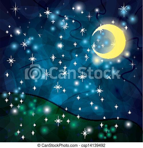fantasia, tribale, notte, fondo, luna - csp14139492
