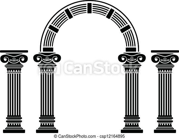 fantasie, aftekenmal, boog, columns. - csp12164895