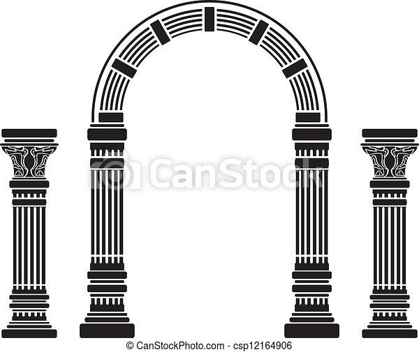 fantasie, aftekenmal, boog, columns. - csp12164906