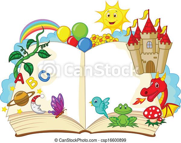 fantasie, boek, spotprent - csp16600899