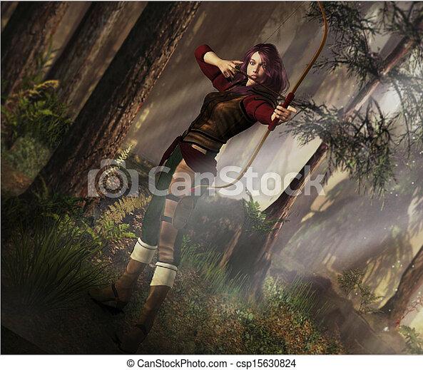 fantasie, bogenschütze - csp15630824