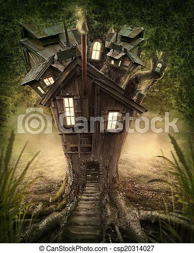 fantasie, boom huis - csp20314027