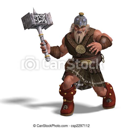 Mächtiger Fantasy Zwerg mit einem Hammer - csp2297112