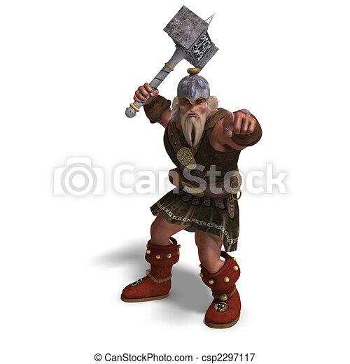 fantasie, mächtig, hammer, zwerg - csp2297117